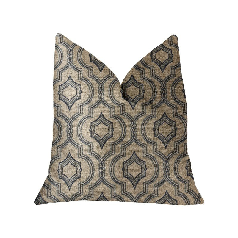 "Plutus Brands Anise Black and Beige Luxury Throw Pillow 16"" x 16"" (PBRA2247-1616-DP)"