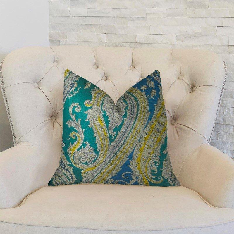 "Plutus Brands Annalise Blue Yellow and Green Handmade Luxury Pillow 18"" x 18"" (PBRAZ361-1818-DP)"