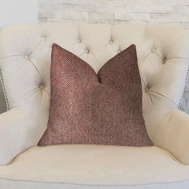 """Plutus Brands Antoinette Red and Gold Luxury Throw Pillow 22"""" x 22"""" (PBKR1990-2222-DP)"""