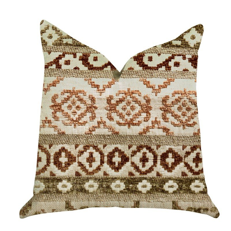 "Plutus Brands Arabesque Shades of Brown Luxury Throw Pillow 18"" x 18"" (PBRA1309-1818-DP)"