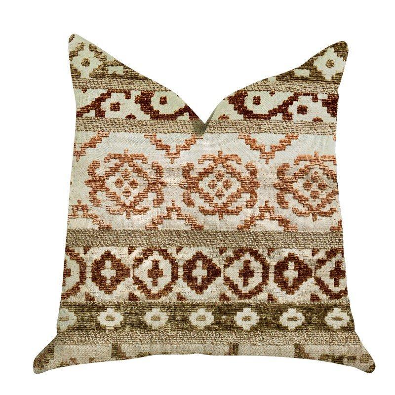 "Plutus Brands Arabesque Shades of Brown Luxury Throw Pillow 22"" x 22"" (PBRA1309-2222-DP)"