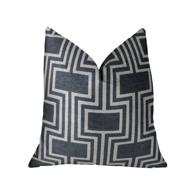 "Plutus Brands Argyle Square Black and White Handmade Luxury Pillow 20"" x 26"" Standard (PBRAZ208-2026-DP)"