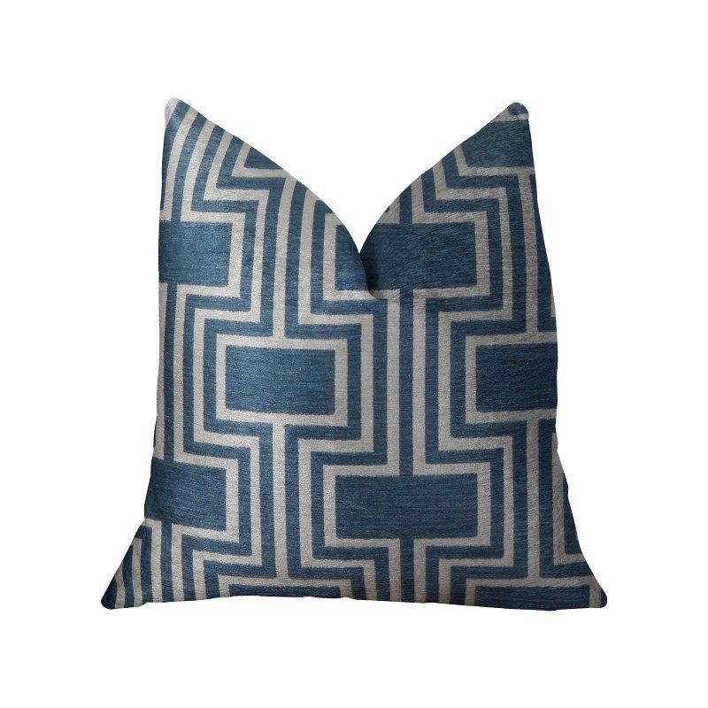 "Plutus Brands Argyle Square Blue and White Handmade Luxury Pillow 18"" x 18"" (PBRAZ207-1818-DP)"