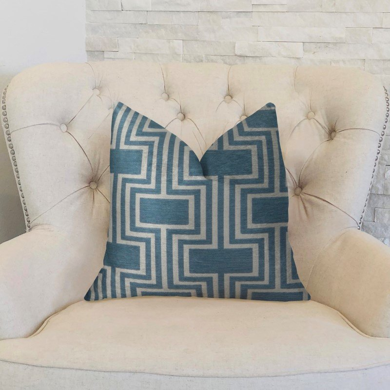"Plutus Brands Argyle Square Blue and White Handmade Luxury Pillow 24"" x 24"" (PBRAZ207-2424-DP)"