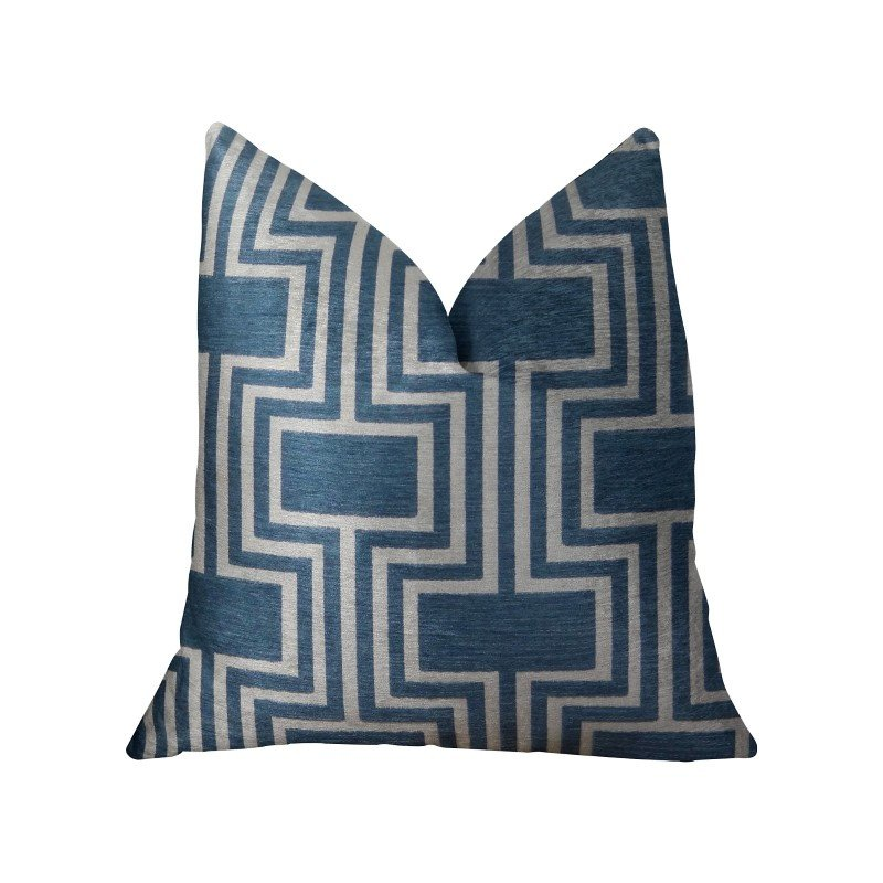 "Plutus Brands Argyle Square Blue and White Handmade Luxury Pillow 26"" x 26"" (PBRAZ207-2626-DP)"