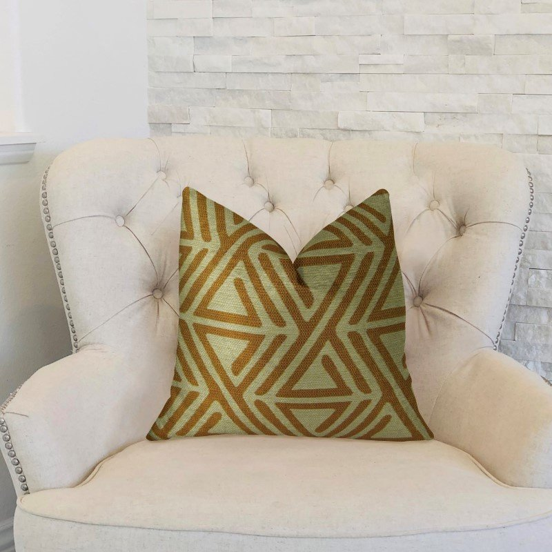 "Plutus Brands Arrow Maze Cream and Brown Handmade Luxury Pillow 12"" x 20"" (PBRAZ034-1220-DP)"