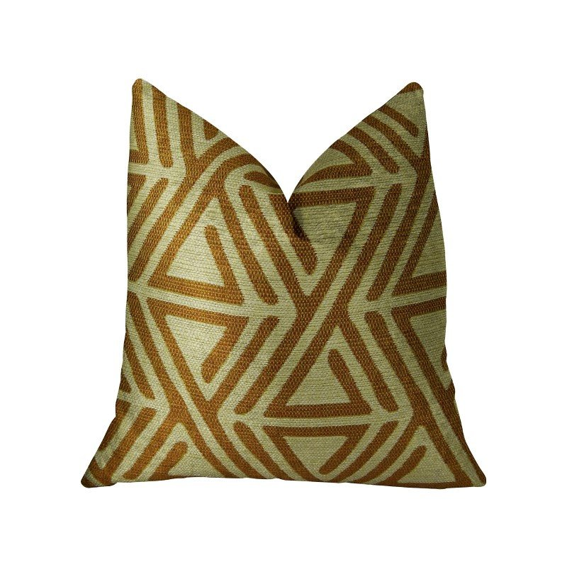 "Plutus Brands Arrow Maze Cream and Brown Handmade Luxury Pillow 16"" x 16"" (PBRAZ034-1616-DP)"