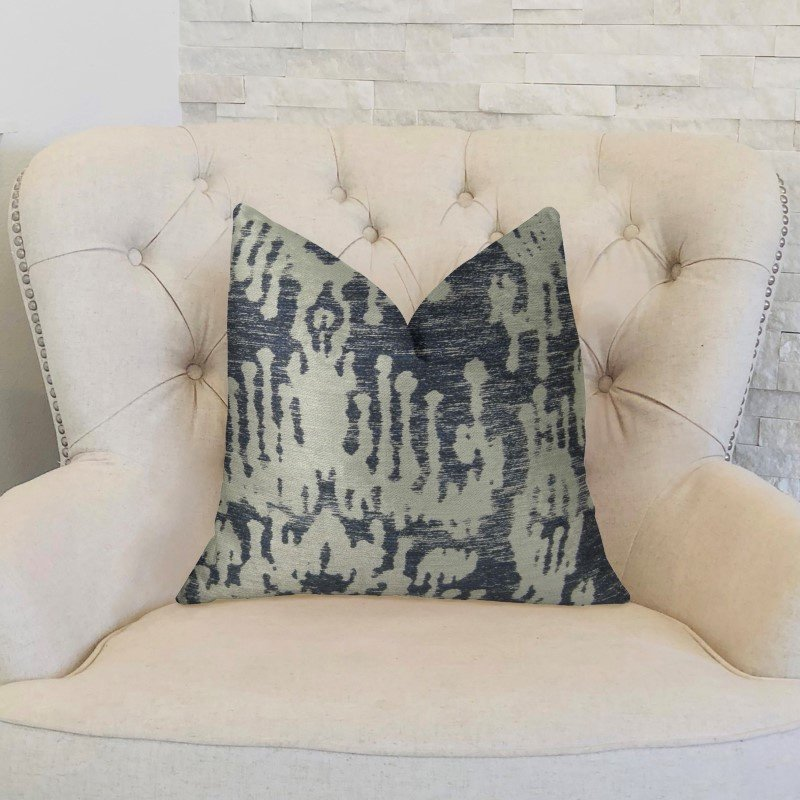 "Plutus Brands Artsy Canvas Navy Cream Handmade Luxury Pillow Double Sided 26"" x 26"" (PBRAZ386-2626-DP)"
