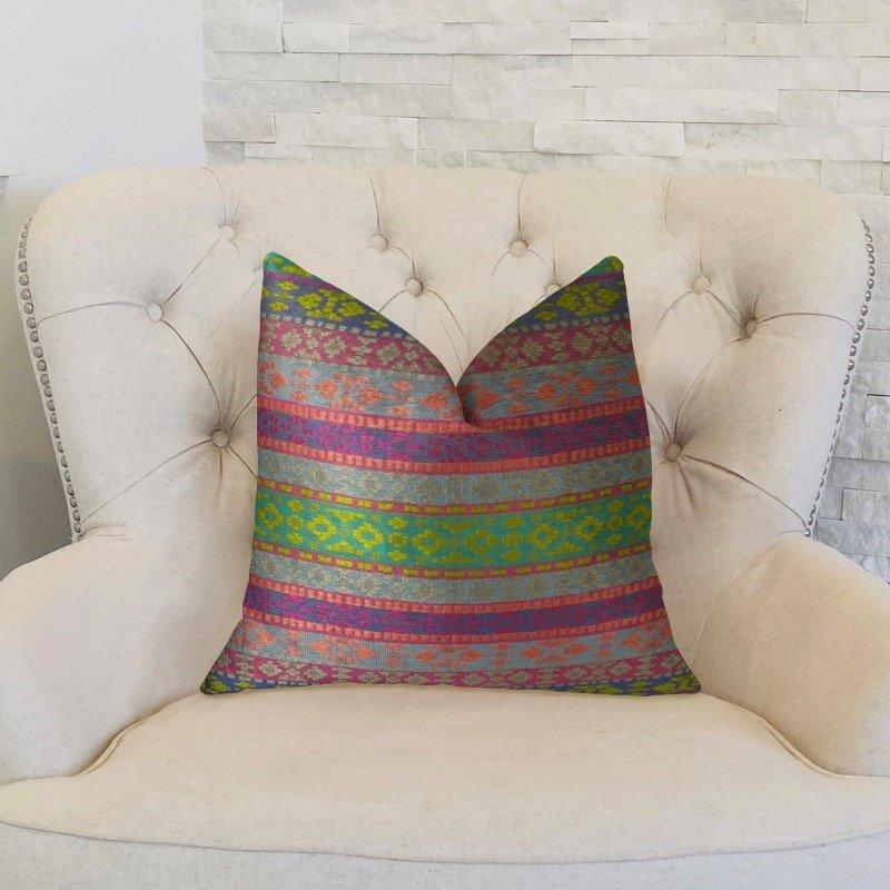 "Plutus Brands Avalanche Magenta Green and Blue Handmade Luxury Pillow 18"" x 18"" (PBRAZ059-1818-DP)"