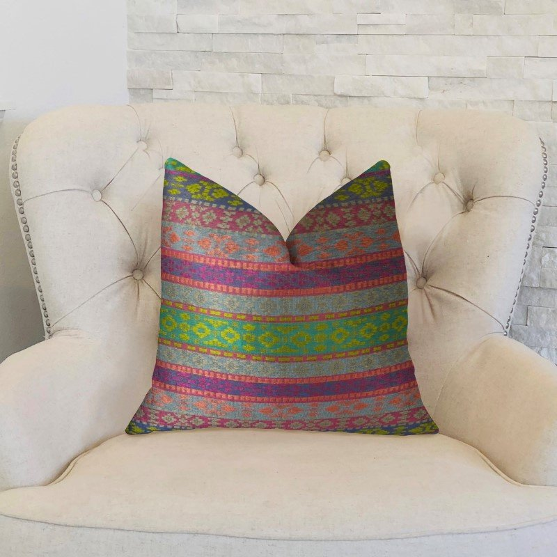 "Plutus Brands Avalanche Magenta Green and Blue Handmade Luxury Pillow 20"" x 20"" (PBRAZ059-2020-DP)"