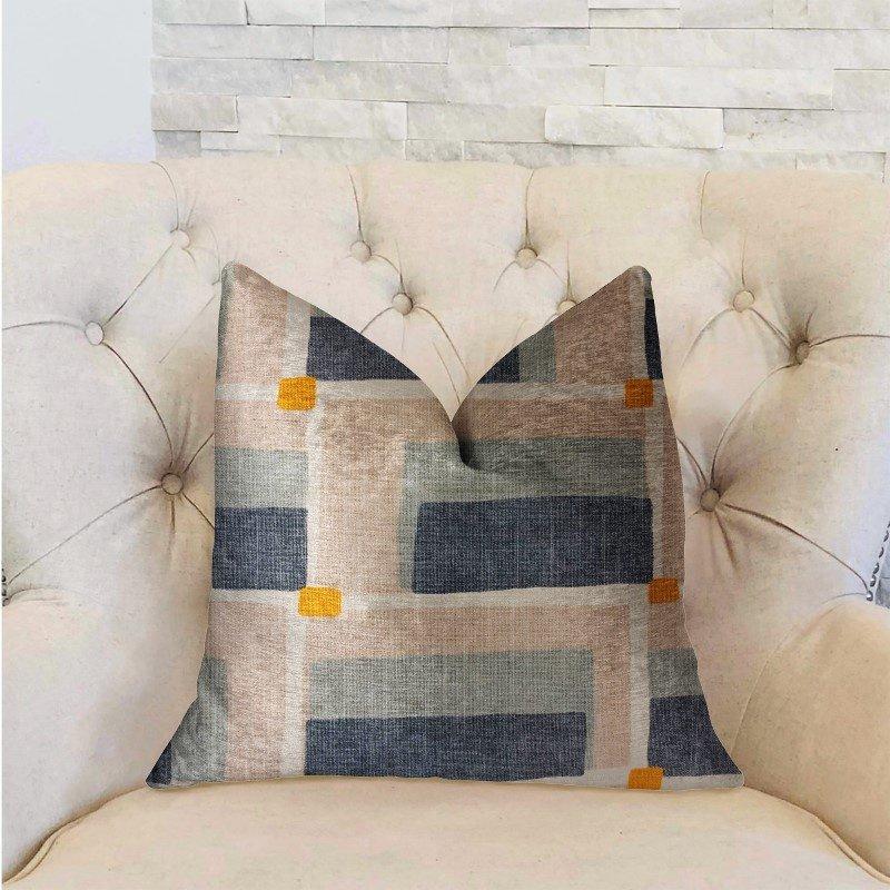 "Plutus Brands Bay Window Blue and Beige Luxury Throw Pillow 12"" x 20"" (PBRA2222-1220-DP)"