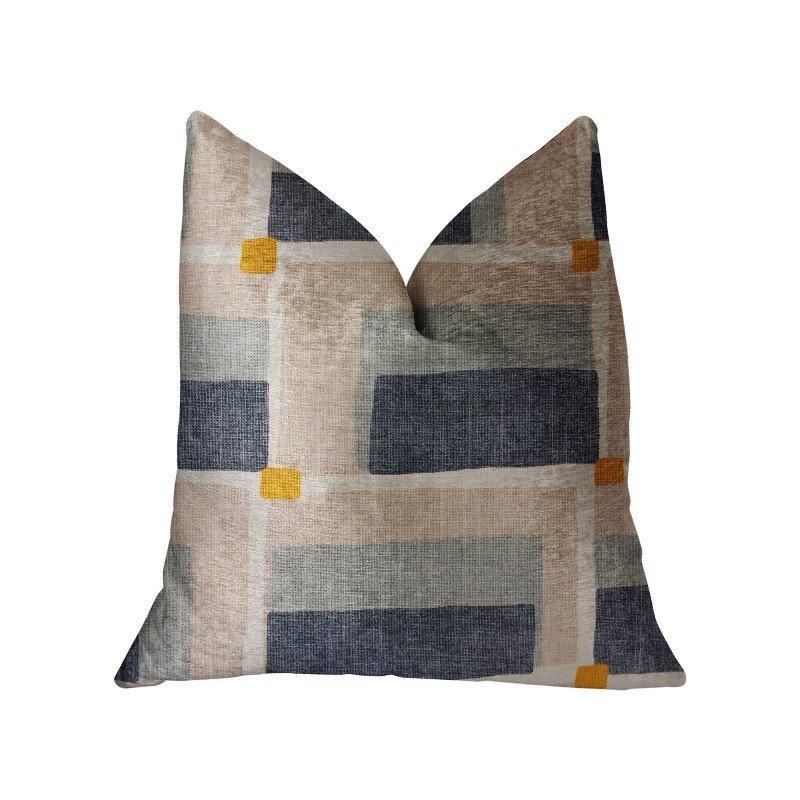 "Plutus Brands Bay Window Blue and Beige Luxury Throw Pillow 26"" x 26"" (PBRA2222-2626-DP)"