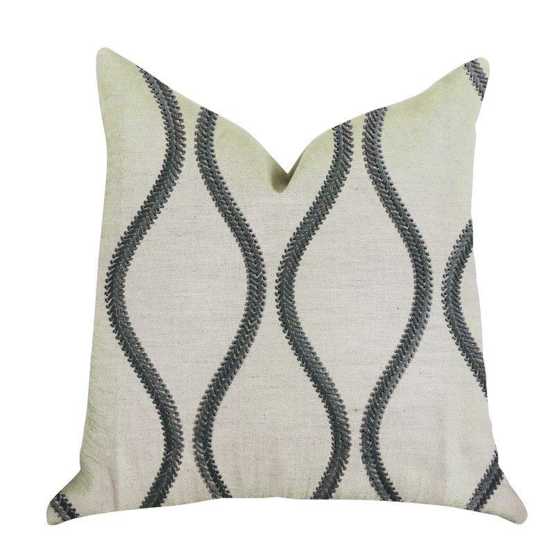 "Plutus Brands Bella Curve Green and Beige Luxury Throw Pillow 20"" x 36"" King (PBRA1353-2036-DP)"