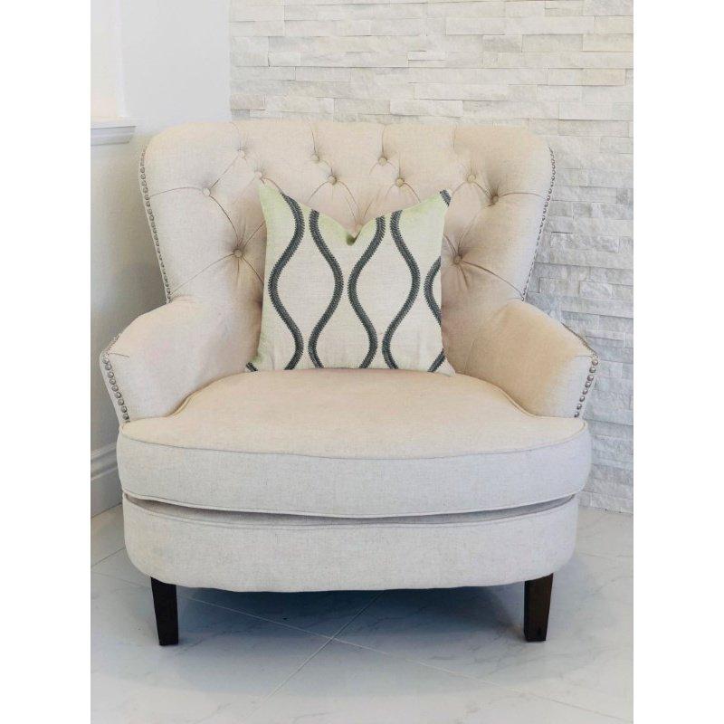 "Plutus Brands Bella Curve Green and Beige Luxury Throw Pillow 22"" x 22"" (PBRA1353-2222-DP)"