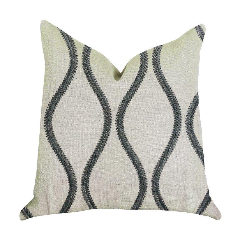"Plutus Brands Bella Curve Green and Beige Luxury Throw Pillow 24"" x 24"" (PBRA1353-2424-DP)"
