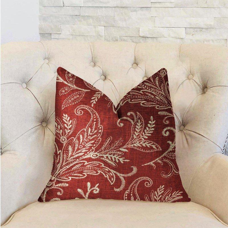 "Plutus Brands Berry Crest Vineyard Red and Beige Luxury Throw Pillow 24"" x 24"" (PBRA2285-2424-DP)"