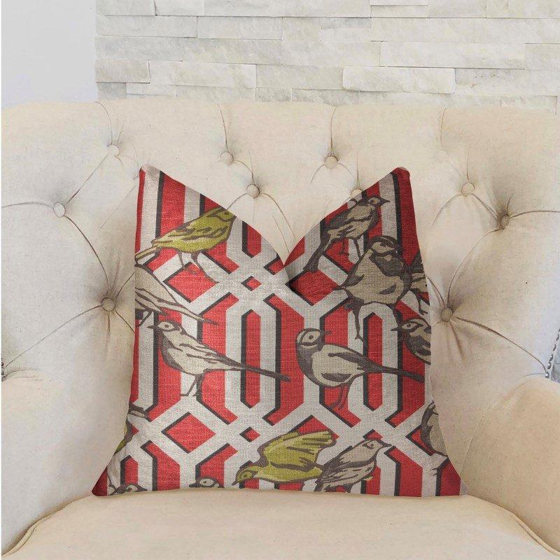 "Plutus Brands Bird Forest Multicolor Luxury Throw Pillow 16"" x 16"" (PBRA2262-1616-DP)"