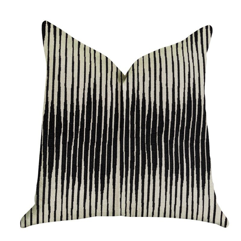 "Plutus Brands Black Crystal Luxury Throw Pillow in Black and Beige Tones Pillows 22"" x 22"" (PBRA1372-2222-DP)"