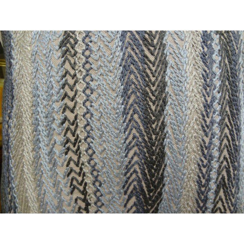 "Plutus Brands Blue Gate Gray Blue and Taupe Handmade Luxury Pillow 12"" x 20"" (PBRAZ157-1220-DP)"