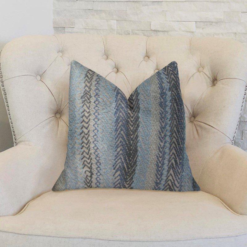 "Plutus Brands Blue Gate Gray Blue and Taupe Handmade Luxury Pillow 20"" x 26"" Standard (PBRAZ157-2026-DP)"