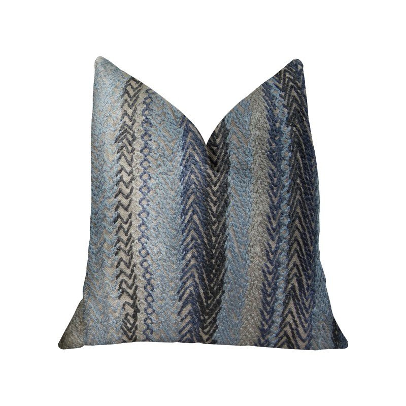 "Plutus Brands Blue Gate Gray Blue and Taupe Handmade Luxury Pillow 24"" x 24"" (PBRAZ157-2424-DP)"