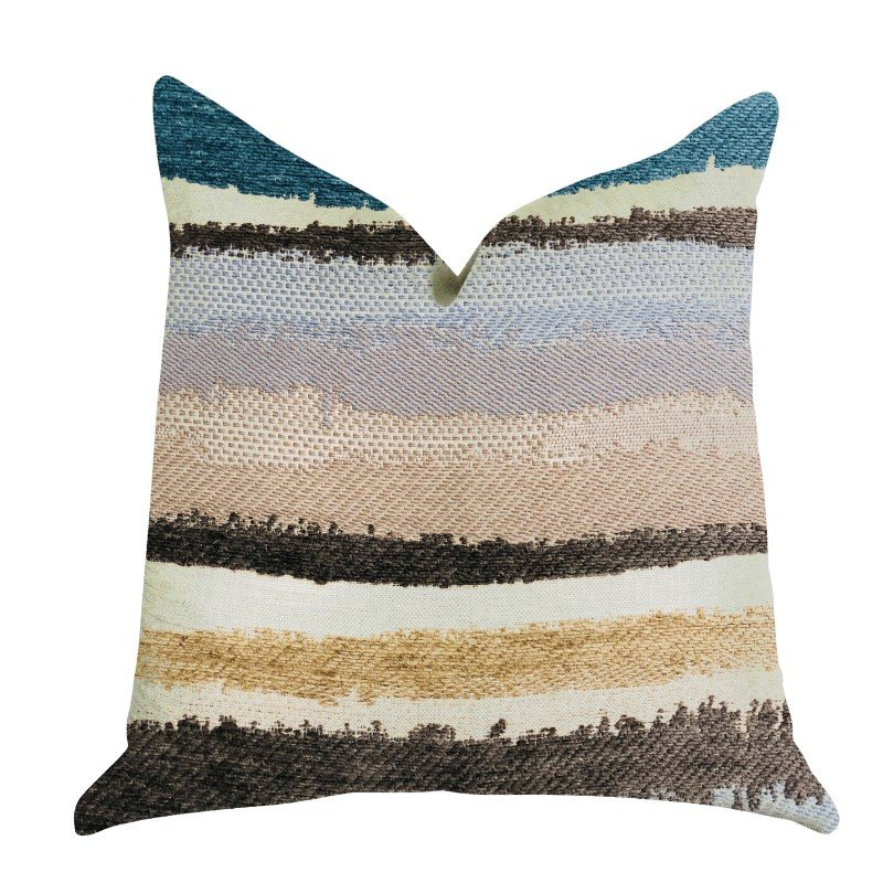 "Plutus Brands Blue Stone River Sand Multi Color Luxury Throw Pillow 16"" x 16"" (PBRA1342-1616-DP)"