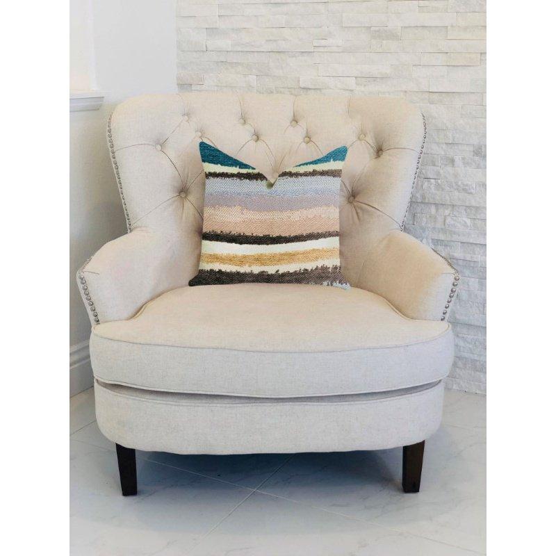 "Plutus Brands Blue Stone River Sand Multi Color Luxury Throw Pillow 20"" x 20"" (PBRA1342-2020-DP)"