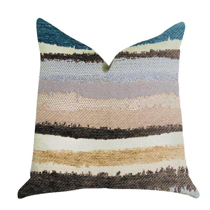 "Plutus Brands Blue Stone River Sand Multi Color Luxury Throw Pillow 20"" x 26"" Standard (PBRA1342-2026-DP)"
