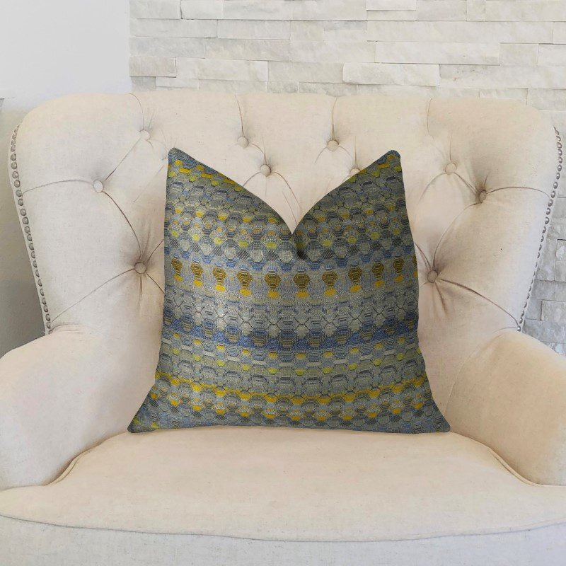 "Plutus Brands Blue Wynne Blue Navy and Yellow Handmade Luxury Pillow 22"" x 22"" (PBRAZ075-2222-DP)"
