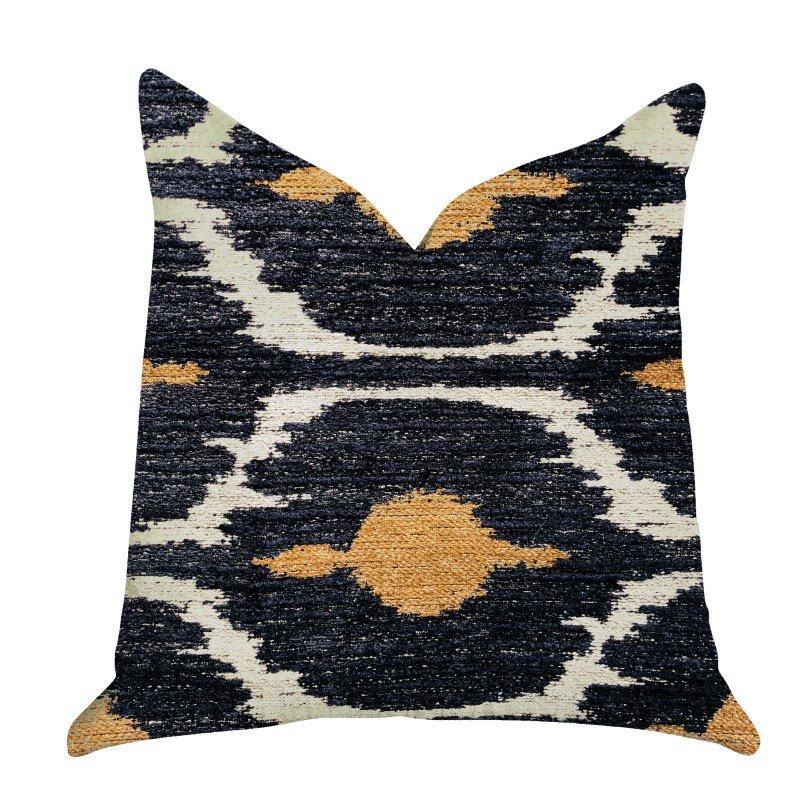"Plutus Brands Bohemian Blue and Orange Ikat Luxury Throw Pillow 16"" x 16"" (PBRA1313-1616-DP)"