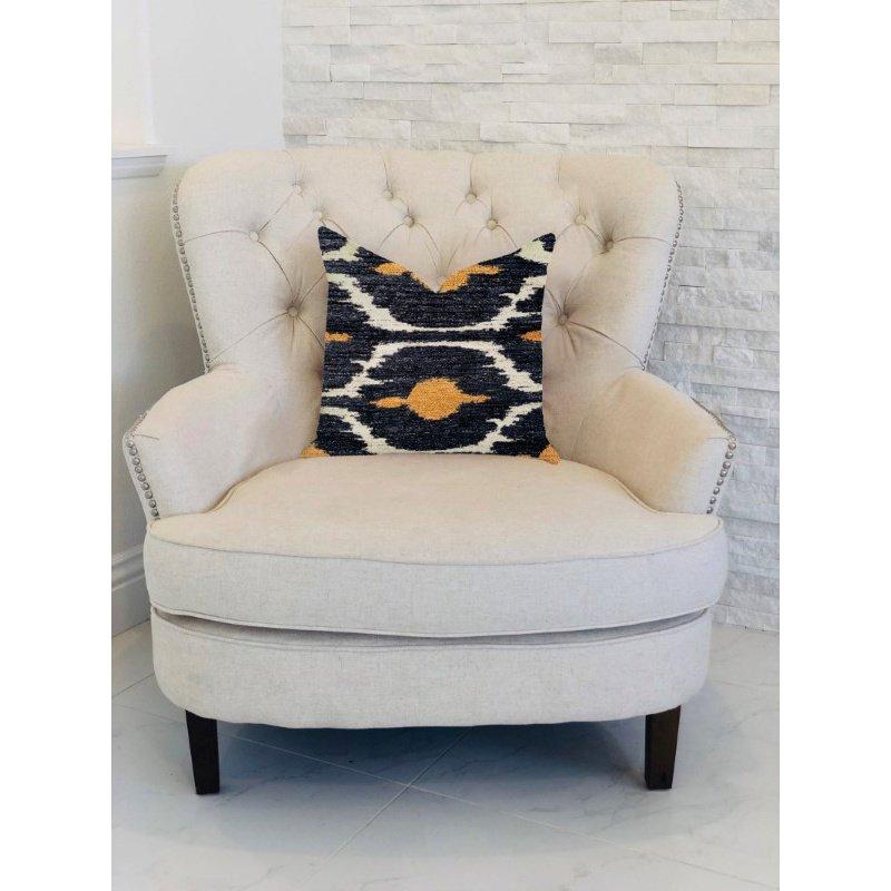 "Plutus Brands Bohemian Blue and Orange Ikat Luxury Throw Pillow 20"" x 20"" (PBRA1313-2020-DP)"