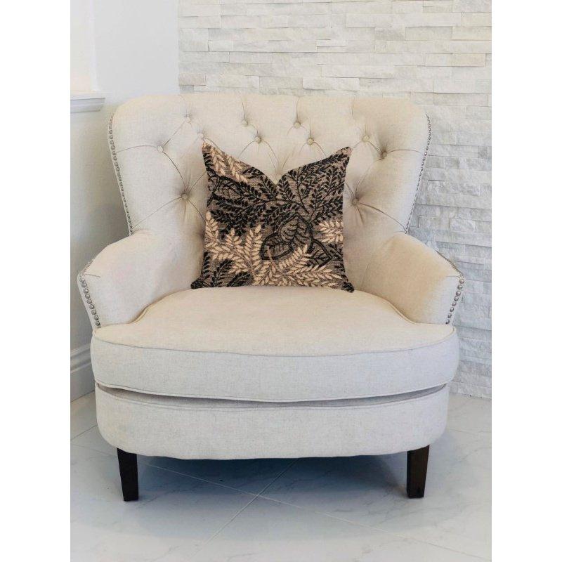 "Plutus Brands Bonzai Ebony Floral Throw Pillow in Black and Brown Pillows 16"" x 16"" (PBRA1369-1616-DP)"