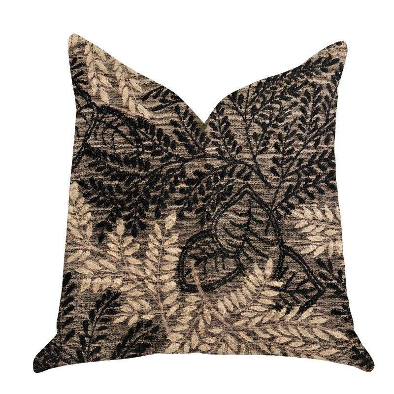 "Plutus Brands Bonzai Ebony Floral Throw Pillow in Black and Brown Pillows 20"" x 30"" Queen (PBRA1369-2030-DP)"