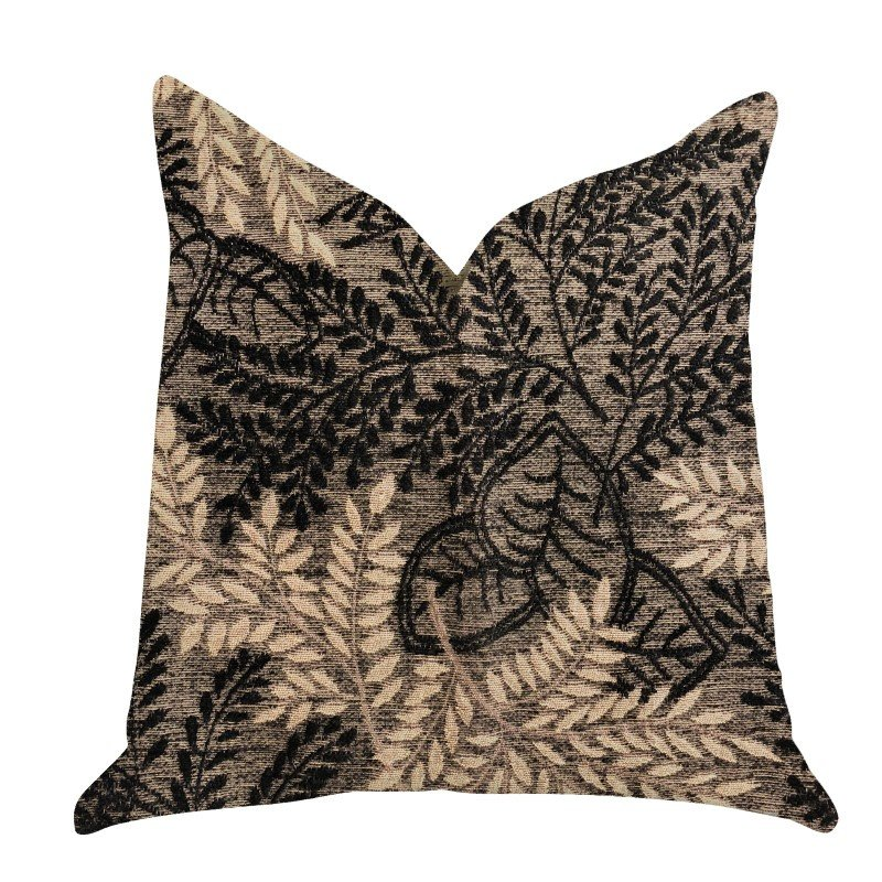 "Plutus Brands Bonzai Ebony Floral Throw Pillow in Black and Brown Pillows 24"" x 24"" (PBRA1369-2424-DP)"