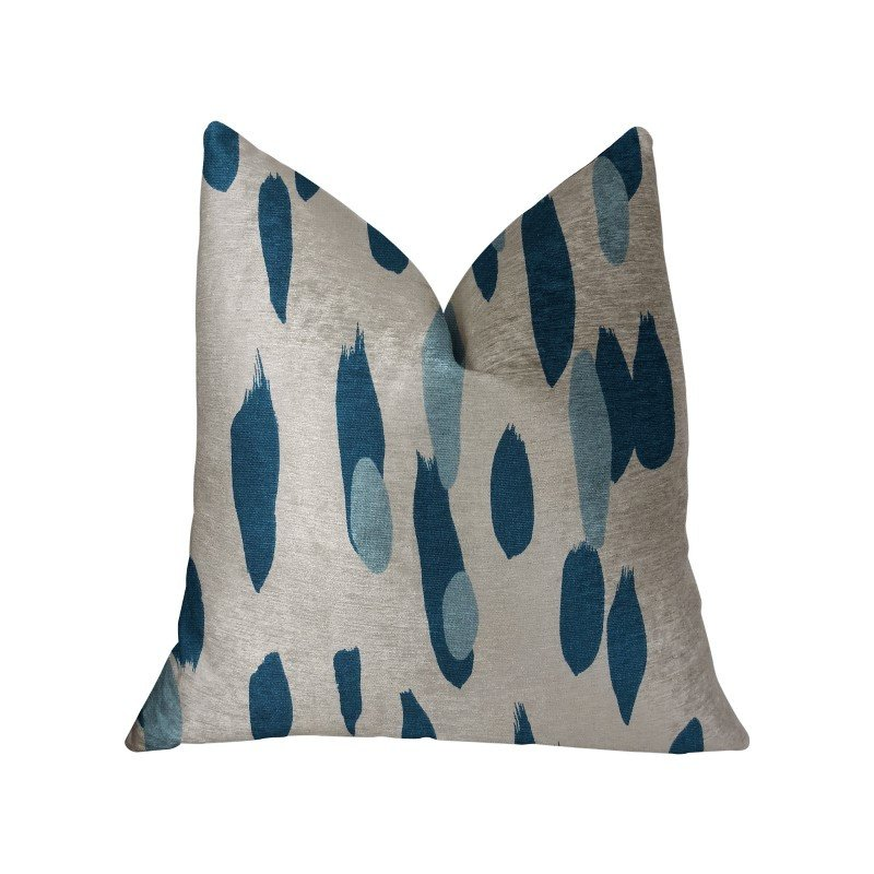 """Plutus Brands Bosky Willow Blue and White Luxury Throw Pillow 16"""" x 16"""" (PBRA2227-1616-DP)"""