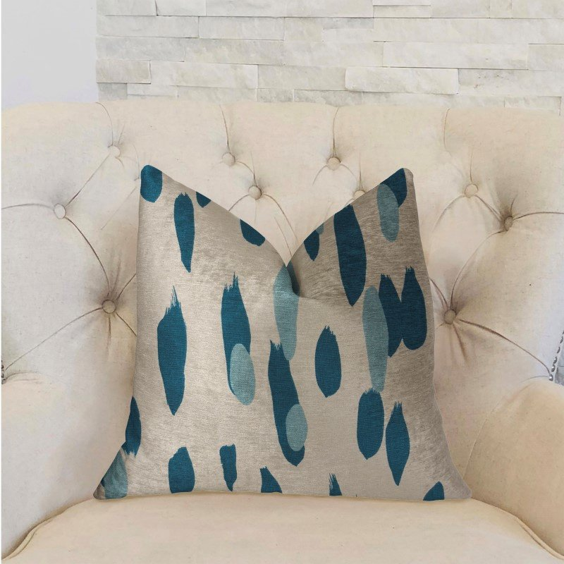 """Plutus Brands Bosky Willow Blue and White Luxury Throw Pillow 24"""" x 24"""" (PBRA2227-2424-DP)"""