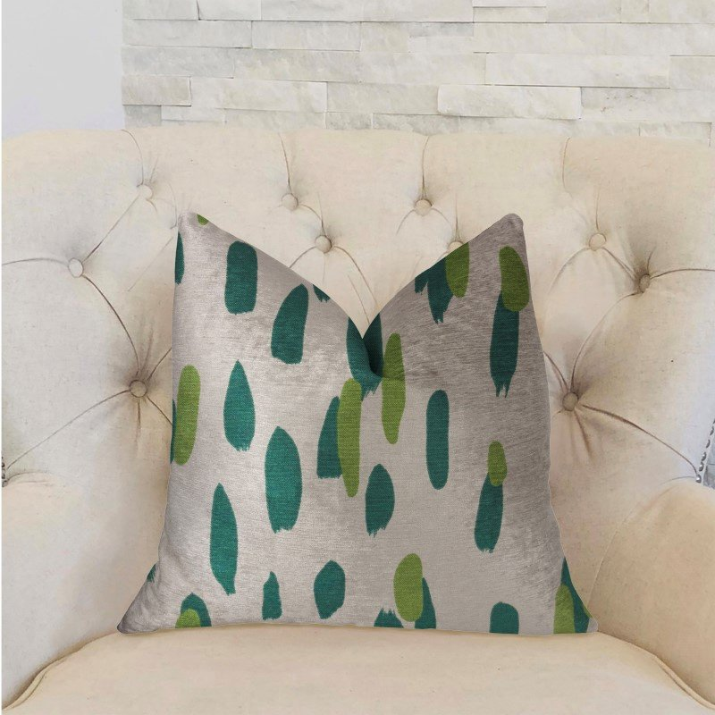 """Plutus Brands Bosky Willow Green and Beige Luxury Throw Pillow 16"""" x 16"""" (PBRA2225-1616-DP)"""