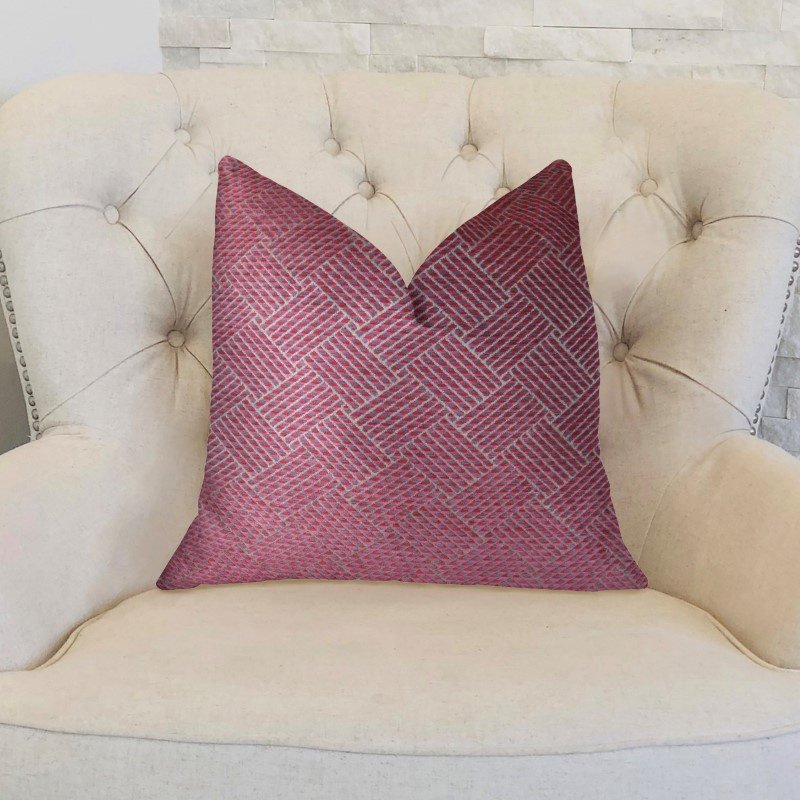 "Plutus Brands Boysenberry Pink and Cream Handmade Luxury Pillow 26"" x 26"" (PBRAZ274-2626-DP)"