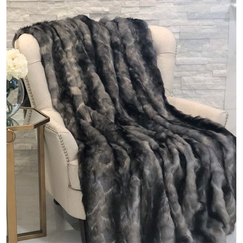 "Plutus Brands Brandy Grey Faux Fox Luxury Throw Blanket 102""L x 116""W California King (PBSF1419-102x116)"