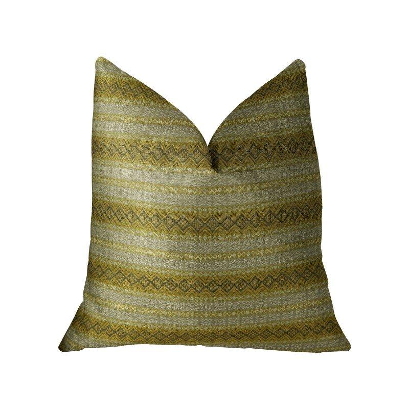 "Plutus Brands Bridge Cliff Taupe and Gray Handmade Luxury Pillow 16"" x 16"" (PBRAZ213-1616-DP)"