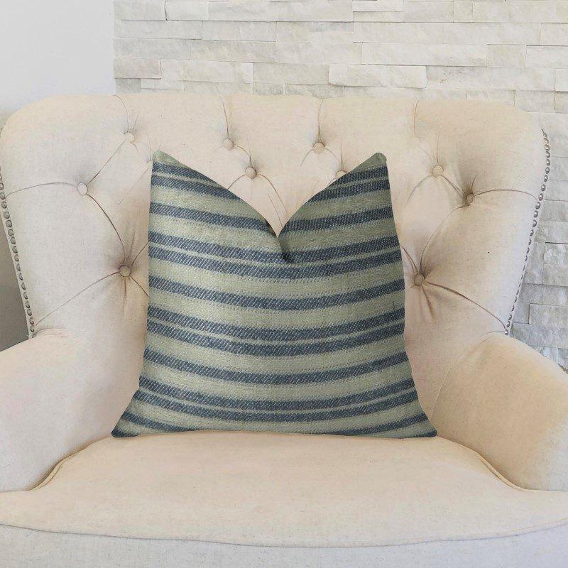 "Plutus Brands By meadow Navy and Cream Handmade Luxury Pillow 20"" x 30"" Queen (PBRAZ156-2030-DP)"