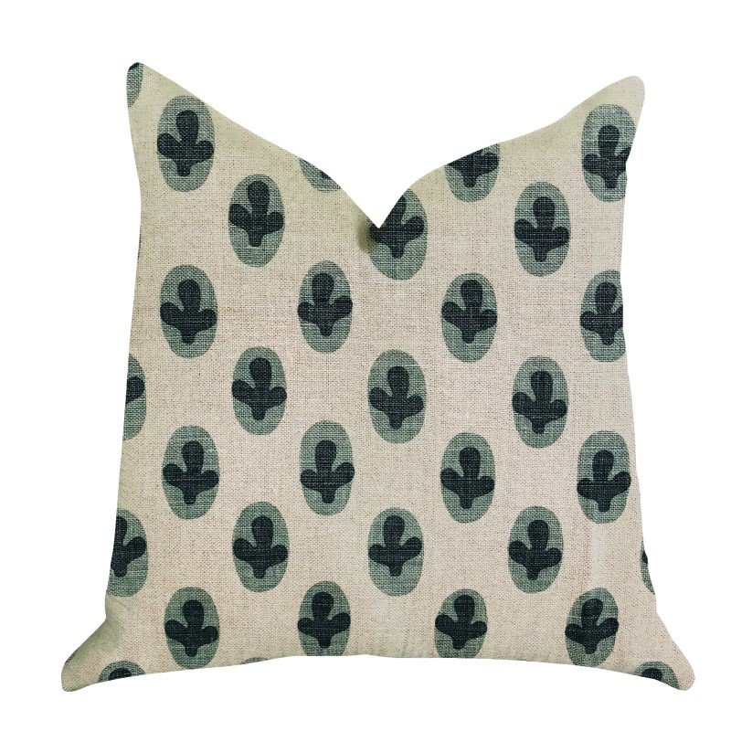 """Plutus Brands Cacti Pear in Green and Beige Color Luxury Throw Pillow 22"""" x 22"""" (PBRA1362-2222-DP)"""