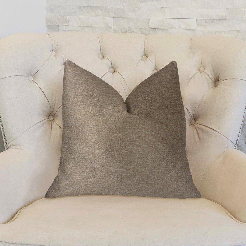 "Plutus Brands Cafe au lait Brown and Beige Luxury Throw Pillow 20"" x 20"" (PBKR1907-2020-DP)"