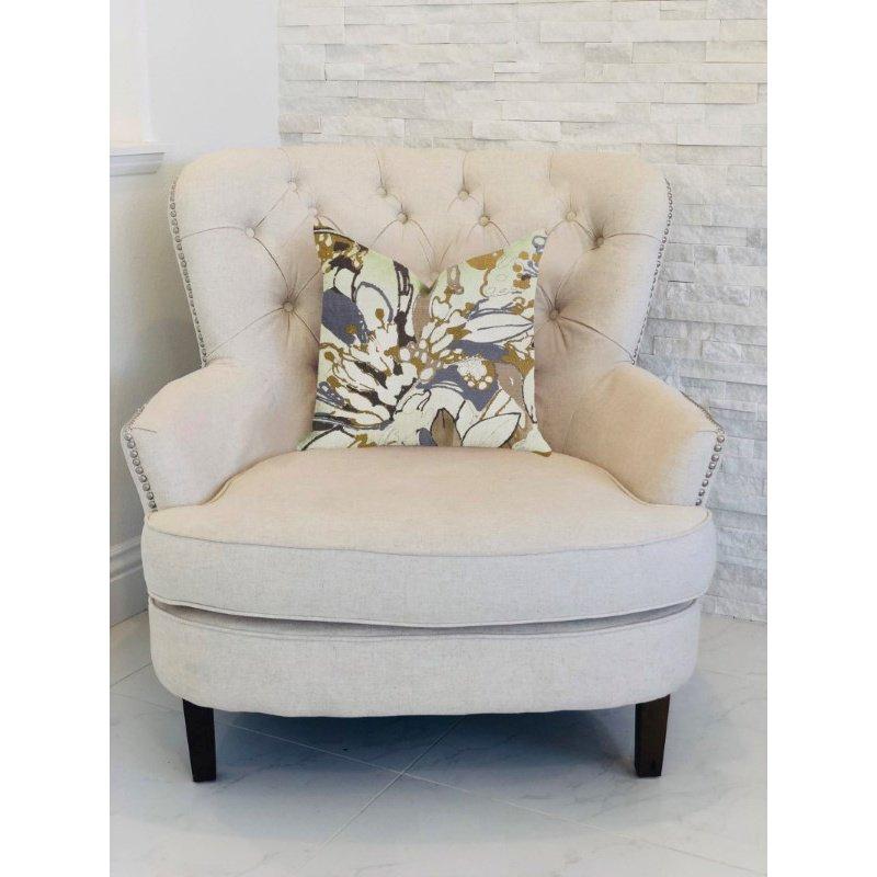 "Plutus Brands Camellia Floral Blue Beige Tones Luxury Throw Pillow 16"" x 16"" (PBRA1358-1616-DP)"