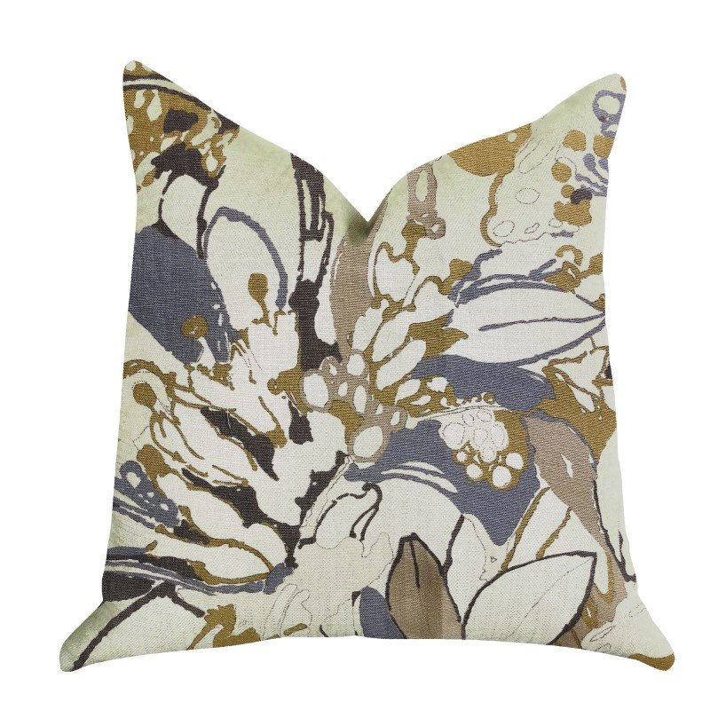 "Plutus Brands Camellia Floral Blue Beige Tones Luxury Throw Pillow 24"" x 24"" (PBRA1358-2424-DP)"