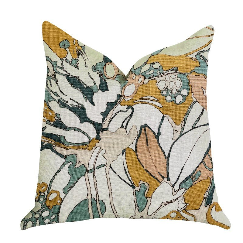 "Plutus Brands Camellia Floral Multi Color Luxury Throw Pillow 16"" x 16"" (PBRA1359-1616-DP)"