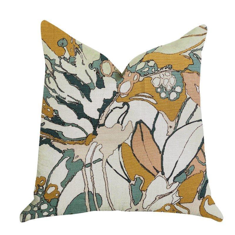 "Plutus Brands Camellia Floral Multi Color Luxury Throw Pillow 22"" x 22"" (PBRA1359-2222-DP)"