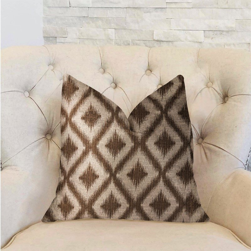"Plutus Brands Casa Nova Brown Luxury Throw Pillow 16"" x 16"" (PBRA2315-1616-DP)"