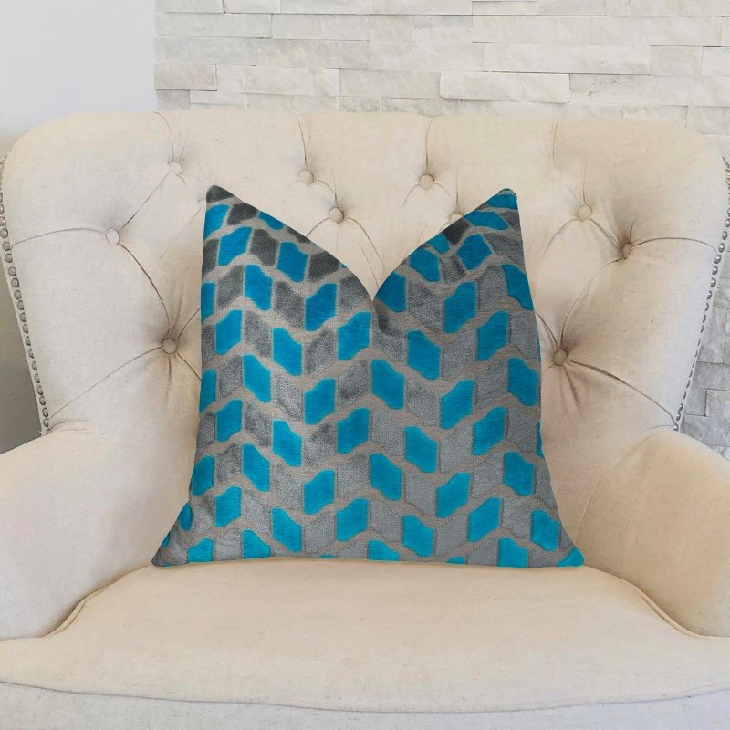 "Plutus Brands Castle Crest Turquoise and Gray Handmade Luxury Pillow 16"" x 16"" (PBRAZ195-1616-DP)"