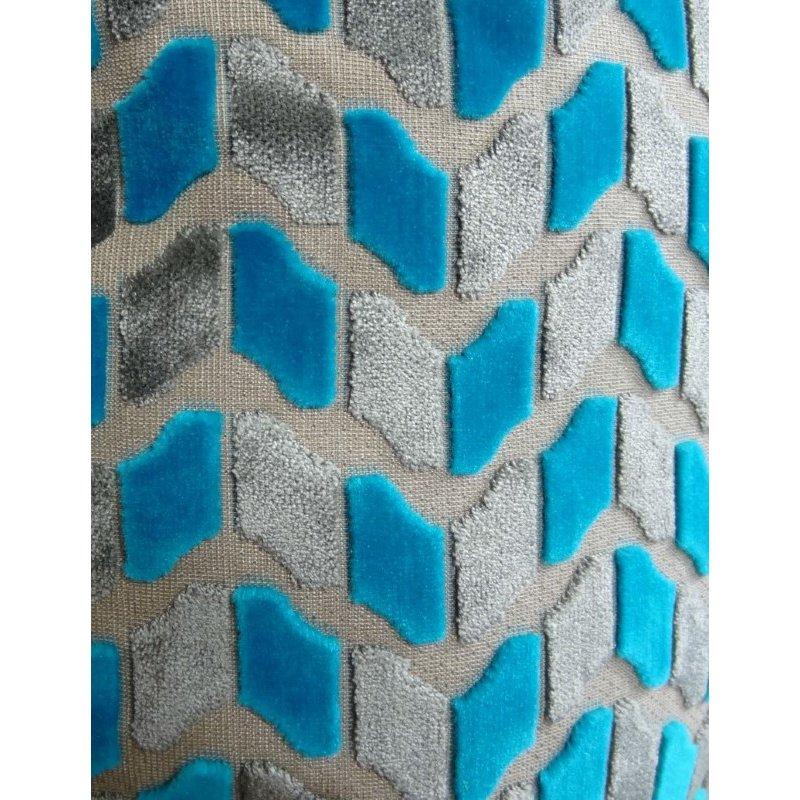 "Plutus Brands Castle Crest Turquoise and Gray Handmade Luxury Pillow 26"" x 26"" (PBRAZ195-2626-DP)"
